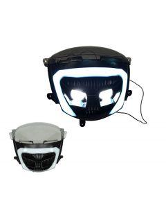 DMP koplamp halogeen + led tube zwart voor Piaggio Zip